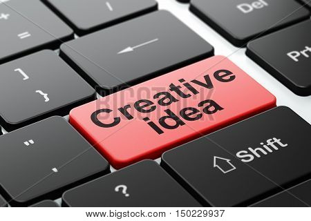 Finance concept: computer keyboard with word Creative Idea, selected focus on enter button background, 3D rendering