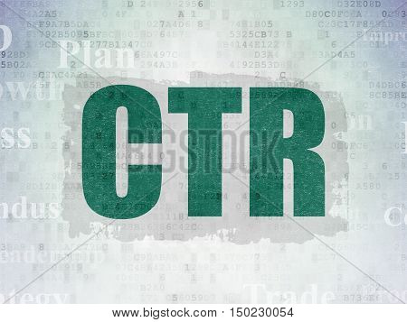 Finance concept: Painted green text CTR on Digital Data Paper background with   Tag Cloud