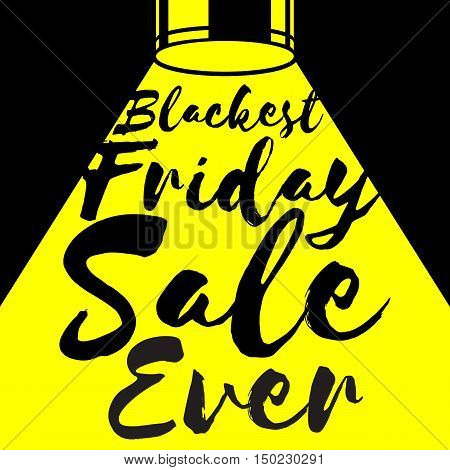 Black friday sale background. Text in yellow spotlight beam vector illustration. Good for poster banner flyer advertising design. Simple bold style.
