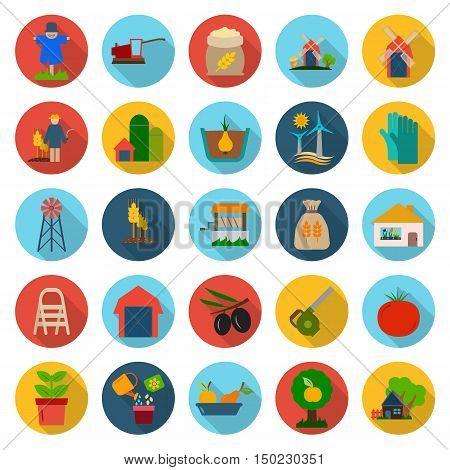 farm, gardening 25 flat icons set for web design