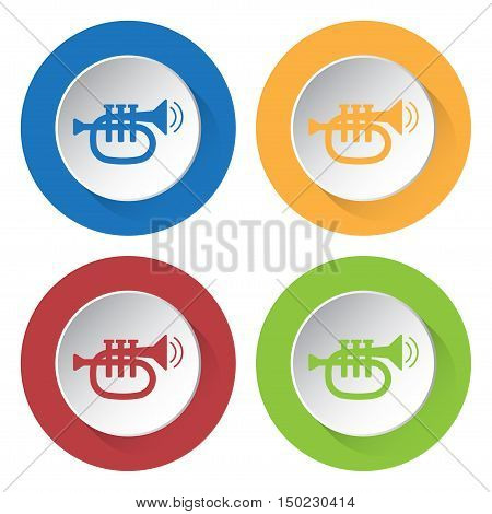 set of four colored icons - trumpet sound and two vibration waves