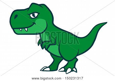 Hand drawn cartoon vector character illustration of a cute smiling green Tyrannosaurus Rex