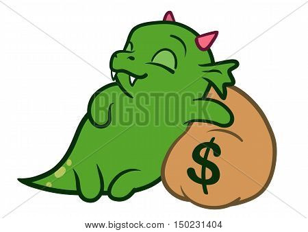 Vector hand drawn cartoon character illustration of a funny cute fat green friendly dragon monster with pink horns asleep with a peaceful smile hugging a brown money bag with a dollar sign on it.