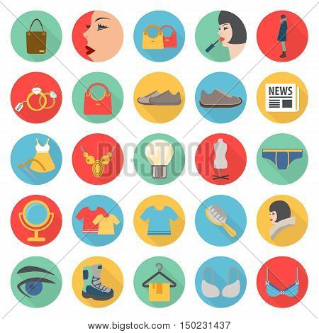 fashion, beuty, shoping 25 flat icons set for web design