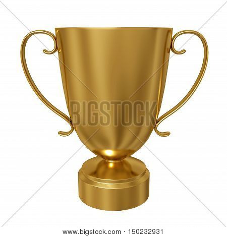Gold trophy cup isolated against a white background