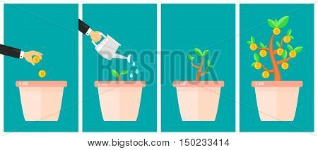 Business strategic asset allocation concept. Money tree flat design cartoon vector illustration. Business start up idea. Financial growth process timeline