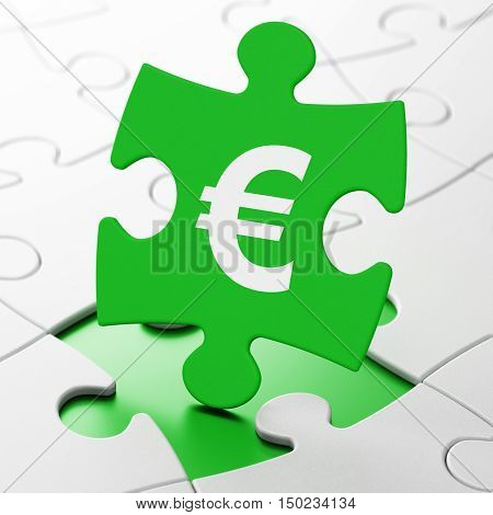 Money concept: Euro on Green puzzle pieces background, 3D rendering
