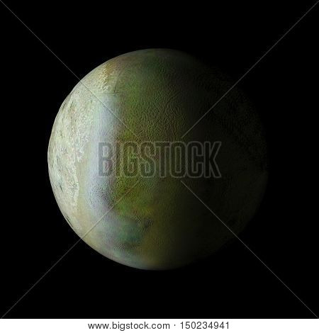 Triton Solar System Planet On Black Background 3D Rendering. Elements Of This Image Furnished By Nas