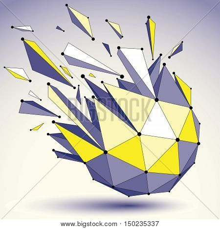 Perspective technology demolished shape with black lines and dots connected polygonal wireframe object.