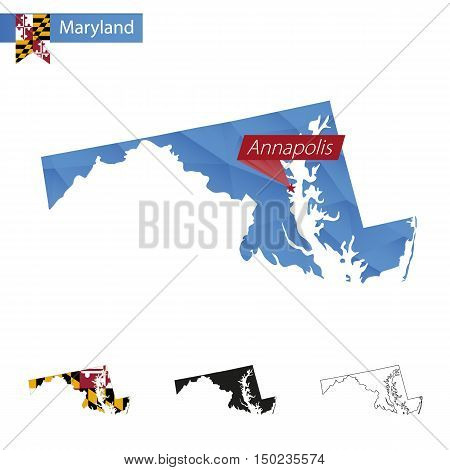 State Of Maryland Blue Low Poly Map With Capital Annapolis.
