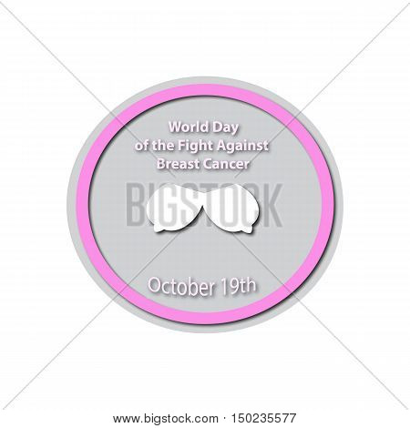 World Day Against Breast Cancer - 19 October. Mammary cancer. Breast cancer. Baner. Vector illustration on isolated background.