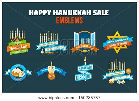 Set of Happy Hanukkah sale or discount design for emblem, sticker or logo with menorah with burning candles, donuts, dreidel and Happy Hanukkah slogans in English and Hebrew isolated