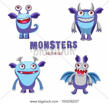 Vector Set Cute Halloween Monsters Mascot. Four Funny Cartoon Monsters Characters. Halloween Monsters for Kids. Cute Monster Drawings.