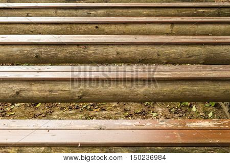 Close-up picture of an old wooden bench