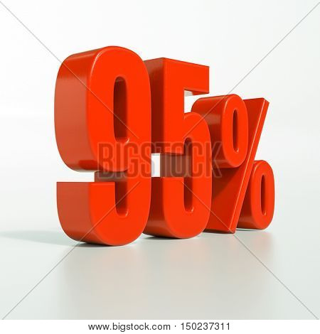 3d render: 95 percent, percentage discount sign on white, 95%