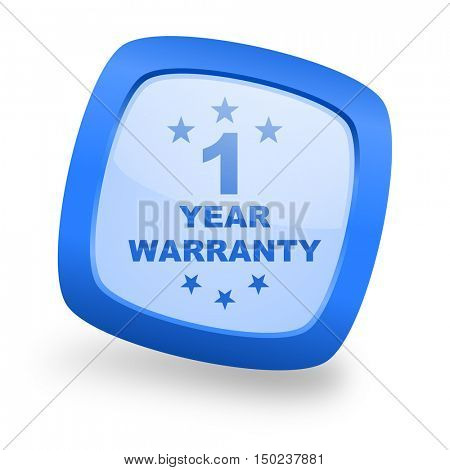 warranty guarantee 1 year blue glossy web design icon