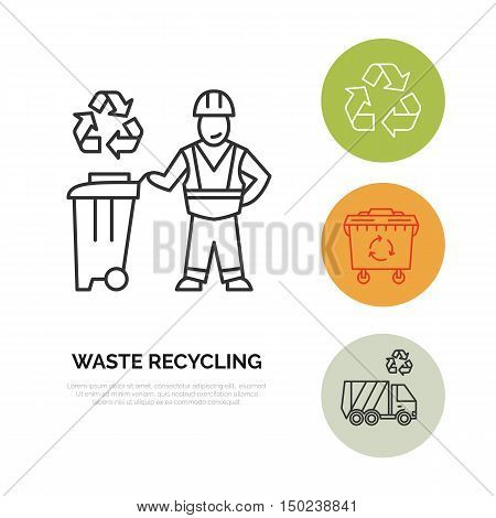 Modern vector line icon of waste sorting recycling. Garbage collection. Waste sorter recycler janitor. Linear pictogram with editable stroke for poster brochure of waste management