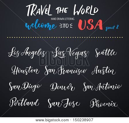American city vector lettering. Typography USA - Los Angeles Las Vegas Seattle San Francisco Houston San Diego San Jose Phoenix San Antonio Austin Denver Portland on dark background
