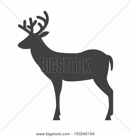 deer black simple icon on white background for web design