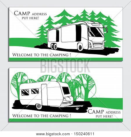 Vector illustration of cars Recreational Vehicles Camper Vans Caravans business card, icon, card template. Transport for Camp.