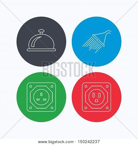 Shower, UK socket and USA socket icons. Reception bell linear sign. Linear icons on colored buttons. Flat web symbols. Vector