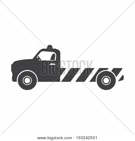tow truck black simple icon on white background for web design