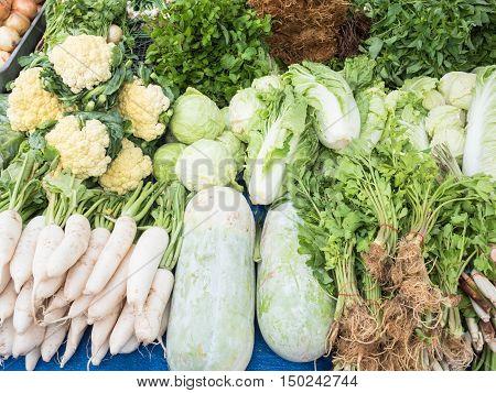 Fresh vegetable stall for sale in market.
