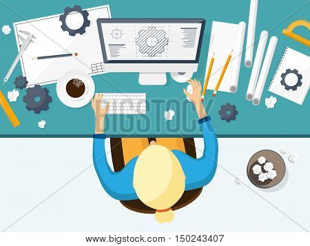 Vector illustration. Engineering and architecture. Drawing, construction. Architectural project. Design, sketching Workspace with tools Planning building poster