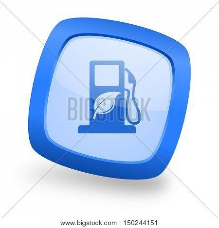 biofuel blue glossy web design icon