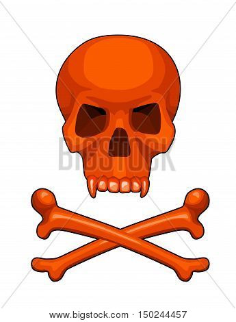 isolated skull and crossbones halloween stylized cartoon vector illustration