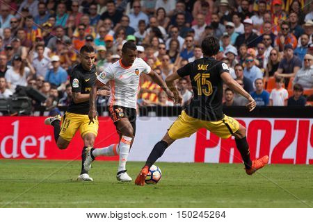 VALENCIA, SPAIN - OCTUBER 2nd: Nani with ball during Spanish soccer league match between Valencia CF and Atletico de Madrid at Mestalla Stadium on Octuber 2, 2016 in Valencia, Spain