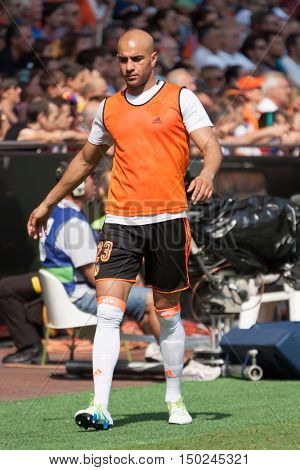 VALENCIA, SPAIN - OCTUBER 2nd: Abdennour during Spanish soccer league match between Valencia CF and Atletico de Madrid at Mestalla Stadium on Octuber 2, 2016 in Valencia, Spain