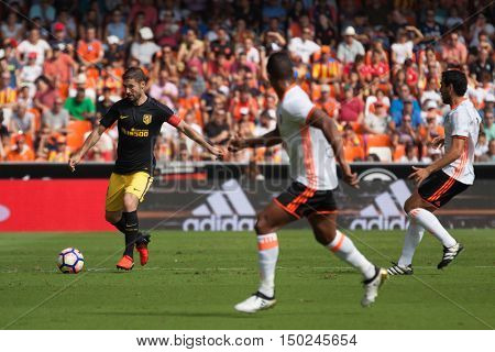 VALENCIA, SPAIN - OCTUBER 2nd: Gabi with ball during Spanish soccer league match between Valencia CF and Atletico de Madrid at Mestalla Stadium on Octuber 2, 2016 in Valencia, Spain