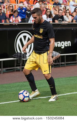 VALENCIA, SPAIN - OCTUBER 2nd: Koke during Spanish soccer league match between Valencia CF and Atletico de Madrid at Mestalla Stadium on Octuber 2, 2016 in Valencia, Spain