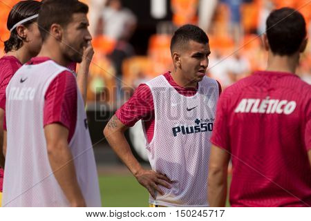 VALENCIA, SPAIN - OCTUBER 2nd: Correa (C) during Spanish soccer league match between Valencia CF and Atletico de Madrid at Mestalla Stadium on Octuber 2, 2016 in Valencia, Spain
