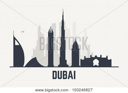 Dubai architecture skyline black silhouette. Line pixel style art.