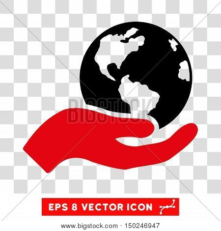 Vector Earth Care Hand EPS vector pictogram. Illustration style is flat iconic bicolor intensive red and black symbol on a transparent background.
