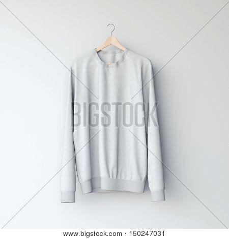 Gray Blank Sweatshirt. 3D Rendering