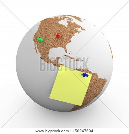 Cork world with pins and memo note used as noteboard. 3d illustration 3d rendering