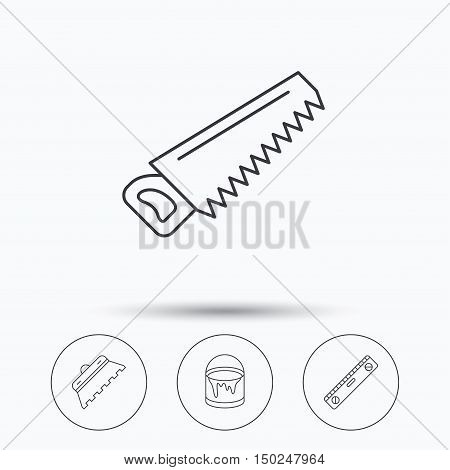 Trowel for tile, saw and level measure icons. Bucket of paint linear sign. Linear icons in circle buttons. Flat web symbols. Vector