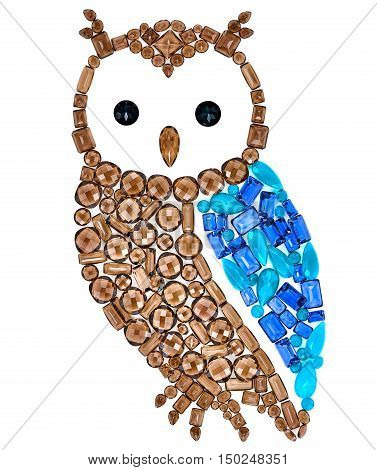 Owl Fashion Design. Feng Shui Owl Symbol Wisdom Wealth. Creative Art Jewelry Decoration. Fashion Luxury Glamor Stylish colorful Owl. Shiny Mosaic Precious placer. Rich Finance Knowledge Concept