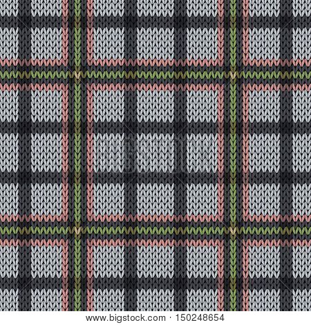 Knitting Seamless Pattern In Muted Pink, Green And Grey Hues