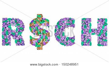 Word Rich Dollar sign. American currency. Finance concept. Fashion Design Gemstone. Fashion luxury glamor colorful placer. Success Lucky. Money decoration. Creative Party decoration. Art background.