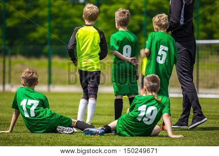 Soccer Players Team Group. Youth Football Soccer Team. Young Boys From Football Team Watching Soccer Match With Coach