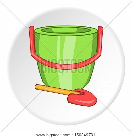 Childrens bucket with shovel icon in cartoon style isolated on white circle background. Childrens toy symbol vector illustration