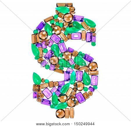 Dollar Sign. American currency. Rich Finance concept. Fashion Design Gemstone. Fashion luxury glamor colorful placer. Success Lucky. Dollar Money decoration. Creative Art sign