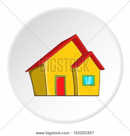One storey house icon in cartoon style isolated on white circle background. Building symbol vector illustration