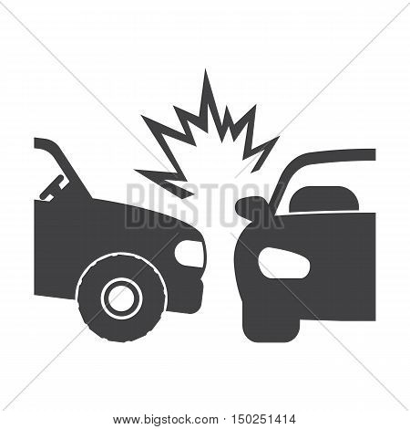car crash black simple icon on white background for web design