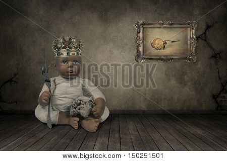 3D illustration of doll with a crown