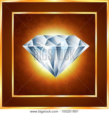 Diamond realistic vector illustration with bright rays